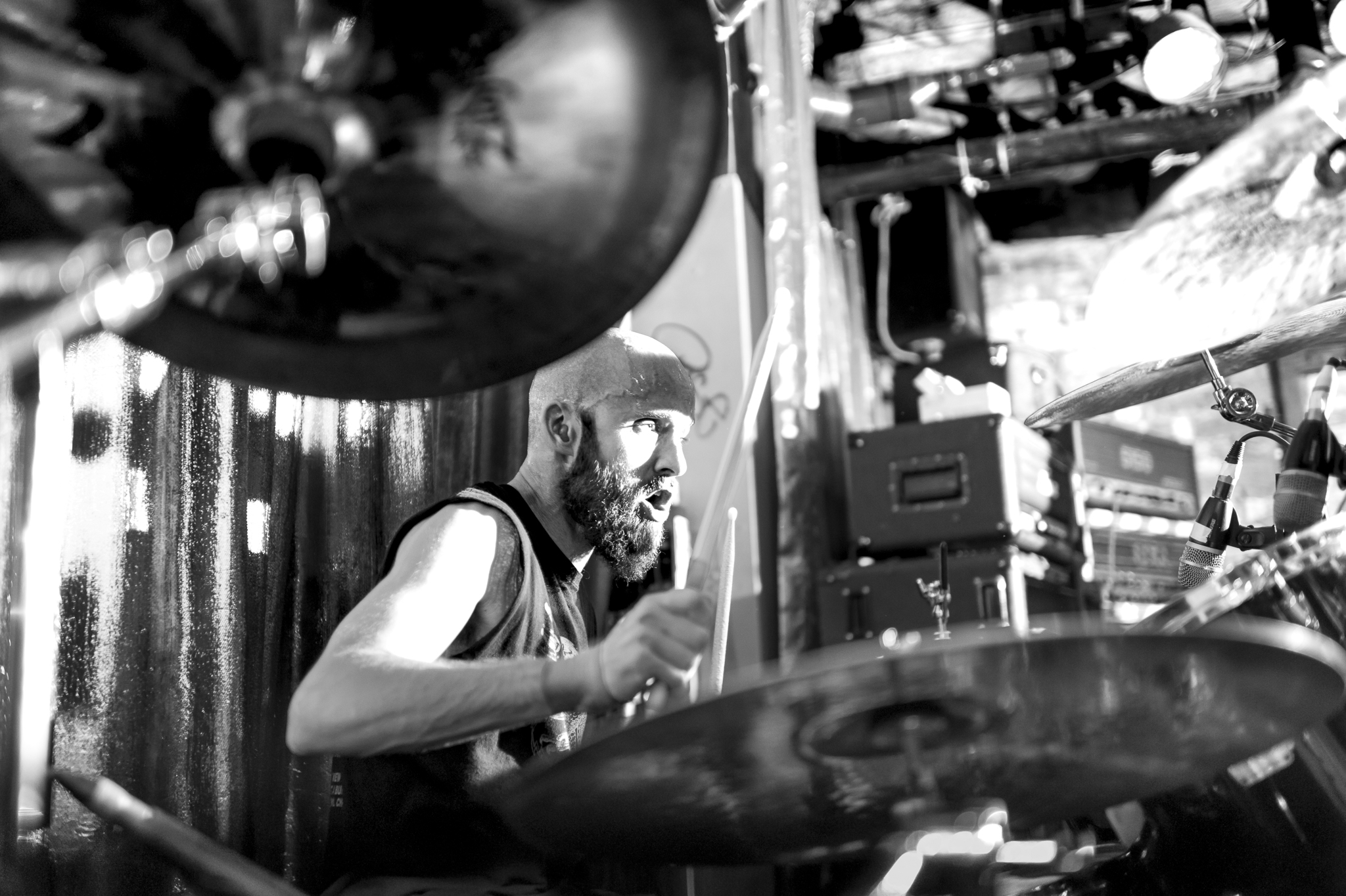 "Mick Morley (drums) at ""Cherry Bar"".10/03/2013. Melbourne, Vict"