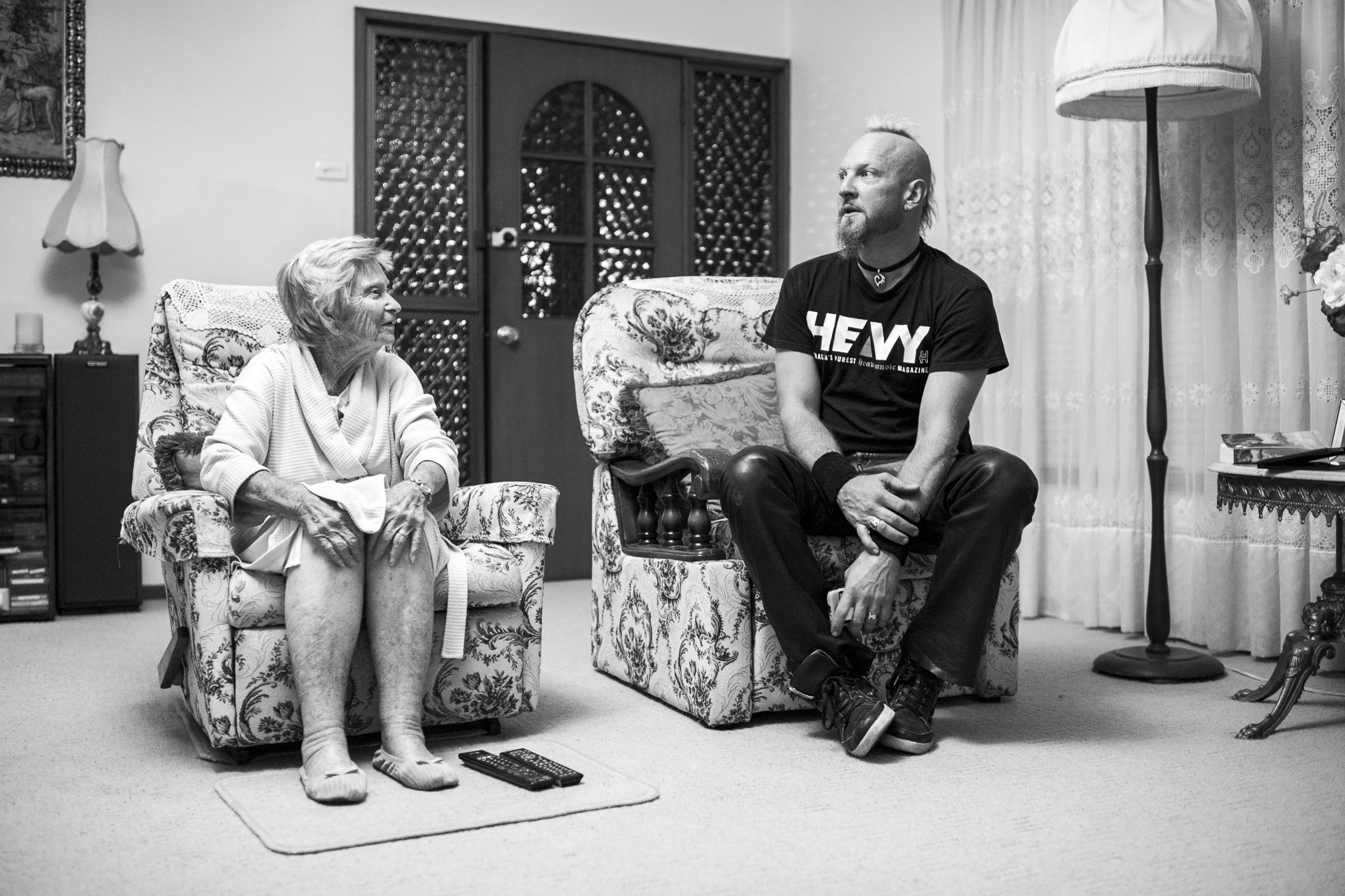 "Azza visits his grandmother, Enid Parker (aka ""Nanabok""), before"