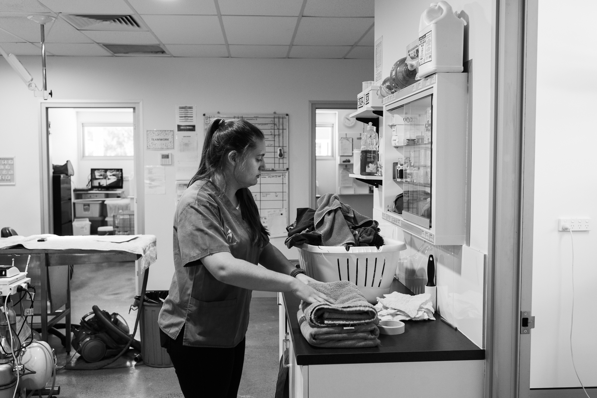 Trainee Nurse Claire Goodlock tackles the endless laundry of a veterinary practice.  9 March, 2018.