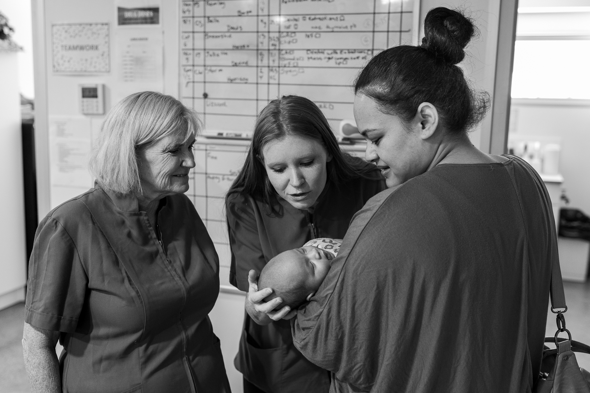Nurse Ana Manuolevao ( right ) brings her one month old son, Laulelei, to the practice to introduce him to staff: Dr Deborah Williams ( left ) and Practice Manager Bri Smith ( middle ). Manuolevao returned to work in August, 2018. Brudine is supportive and flexible with staff having or raising children, which is also pragmatic: there are four times as many female veterinary services staff as males in the industry.  12 February, 2018.