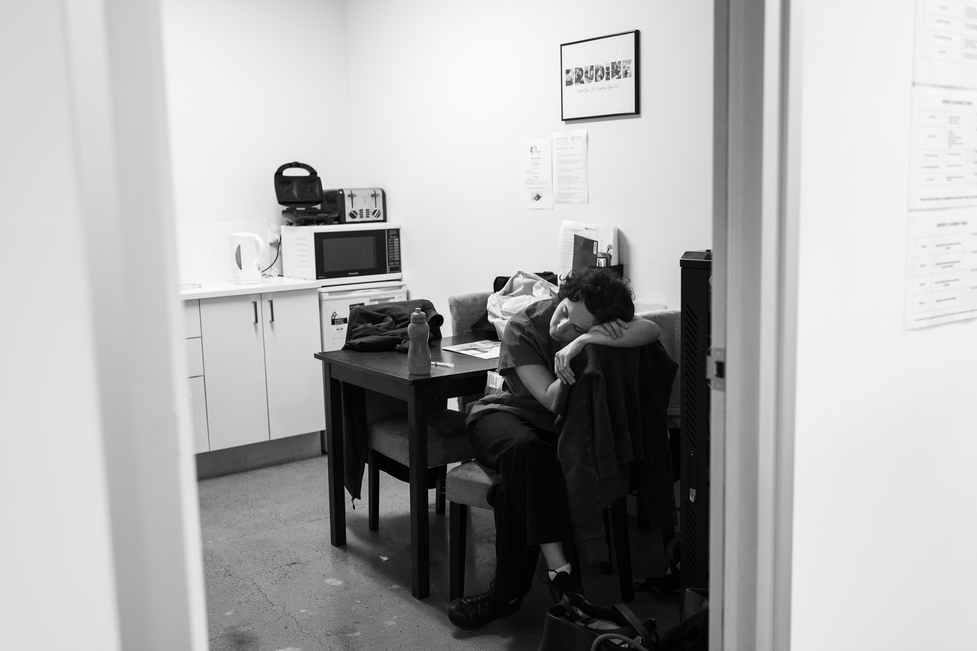 Dr Gwen Shirlow takes advantage of a few free minutes to rest. She returned to work after a serious illness but has not completely recovered and goes home early.  31 January, 2018.