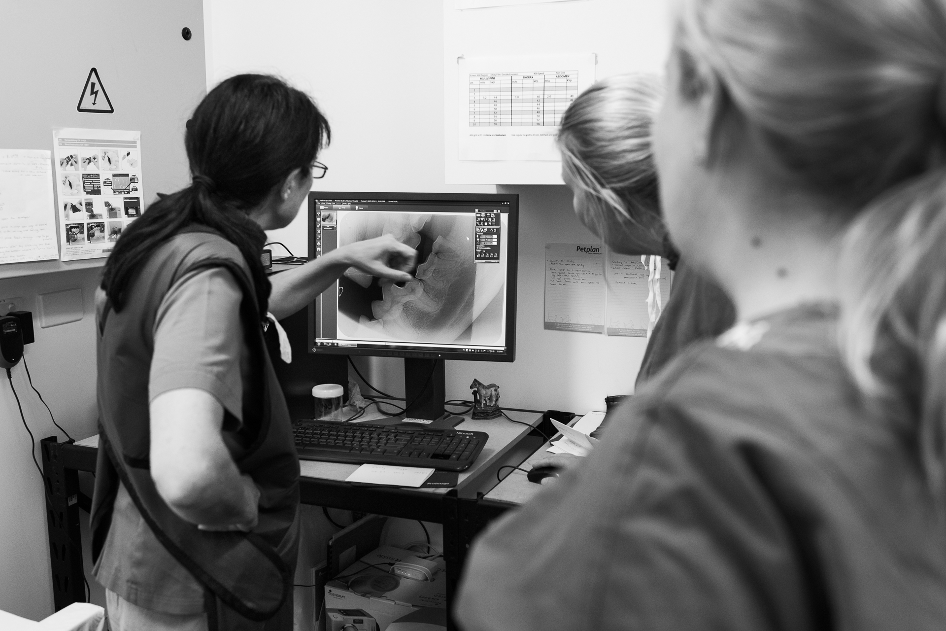 Dr Karen Viggers ( left ) reviews a dental x-ray with Dr Fiona Starr ( middle ) and Nurse Julie Marten.  9 February, 2018.
