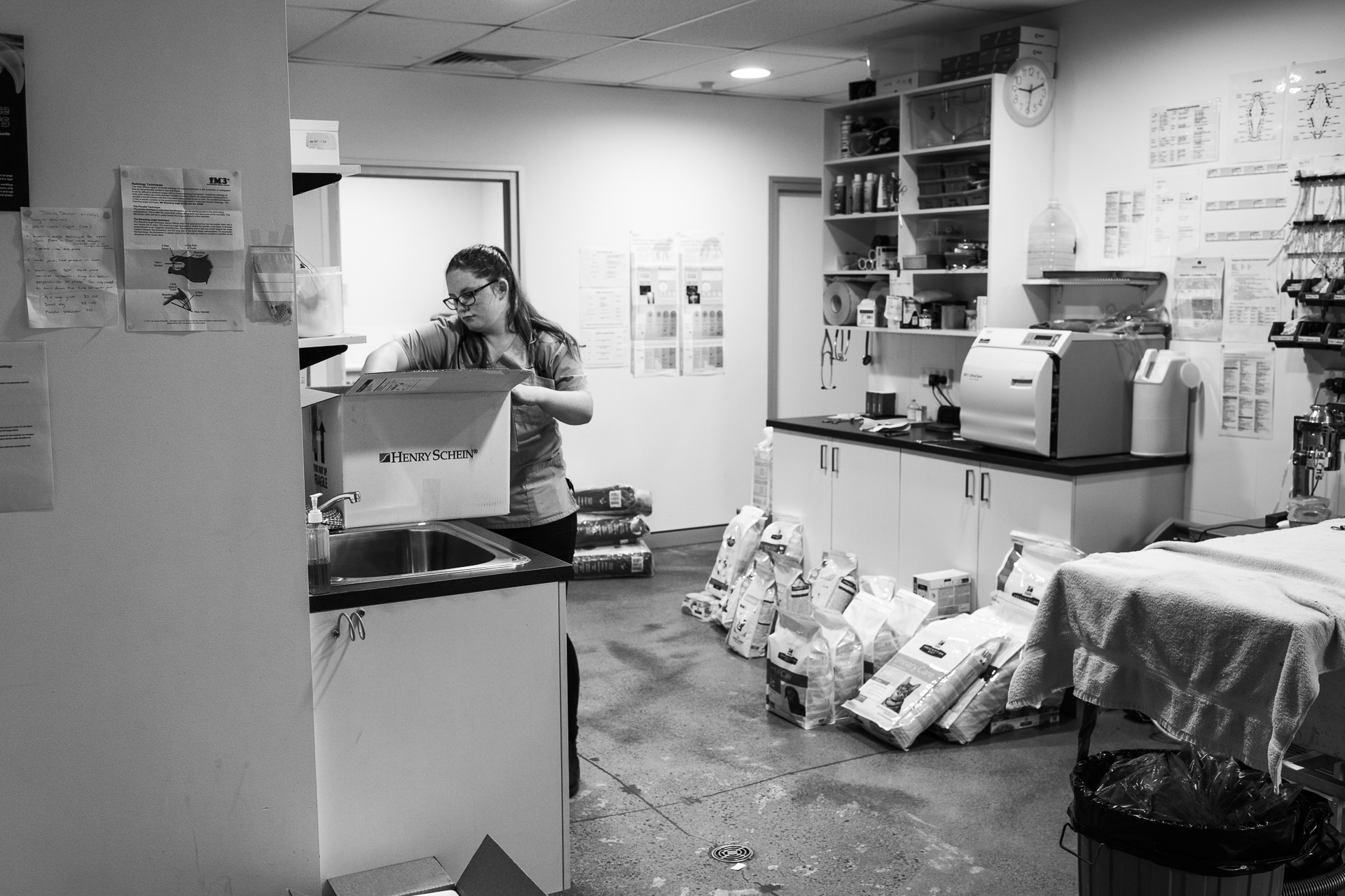 Nurse Kelsey Savage itemises a delivery of prescription food and other consumables.  20 February, 2018.