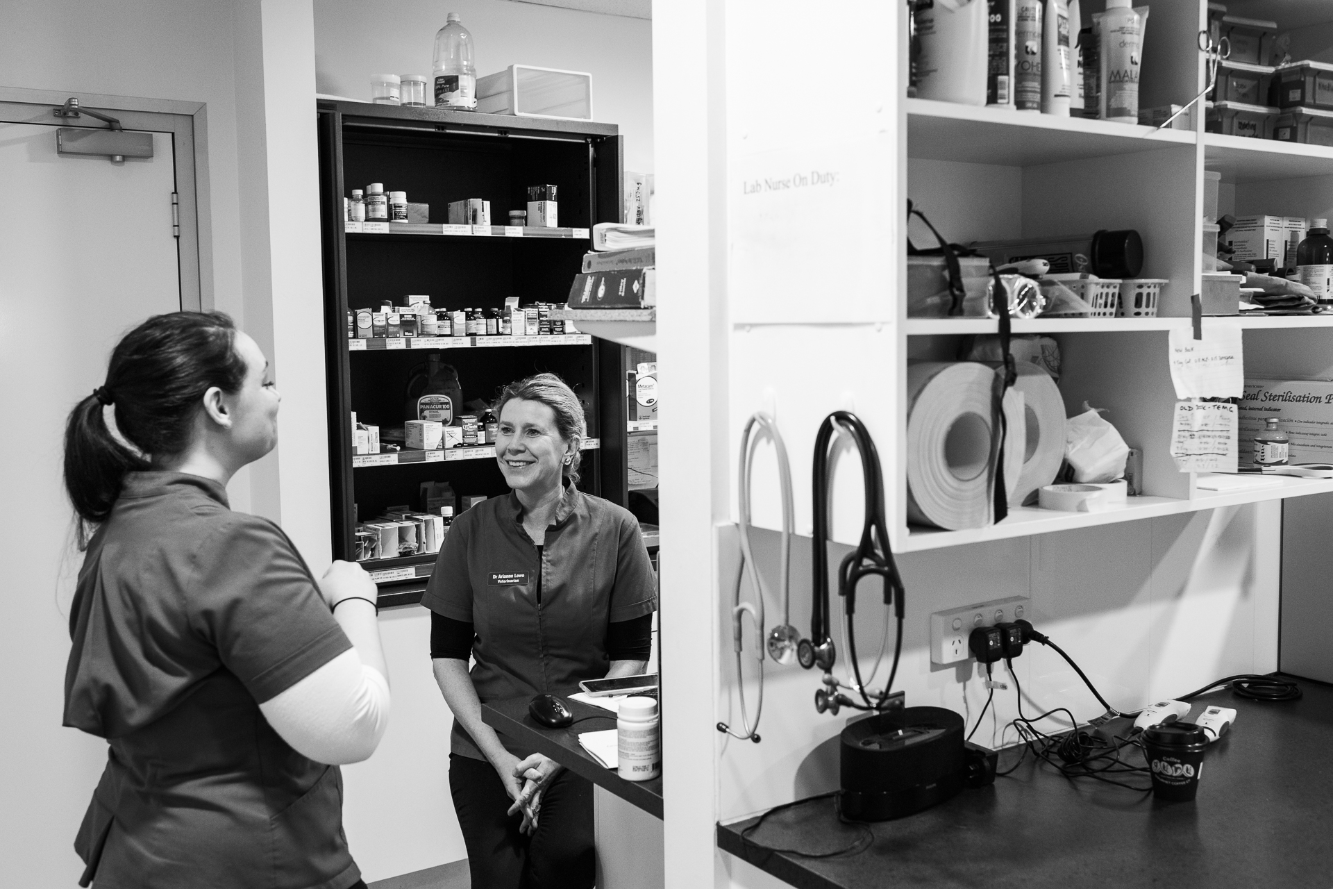 Dr Arianne Lowe ( right ) and Receptionist Kelly Haslop chat before the practice opens.  24 March, 2018.