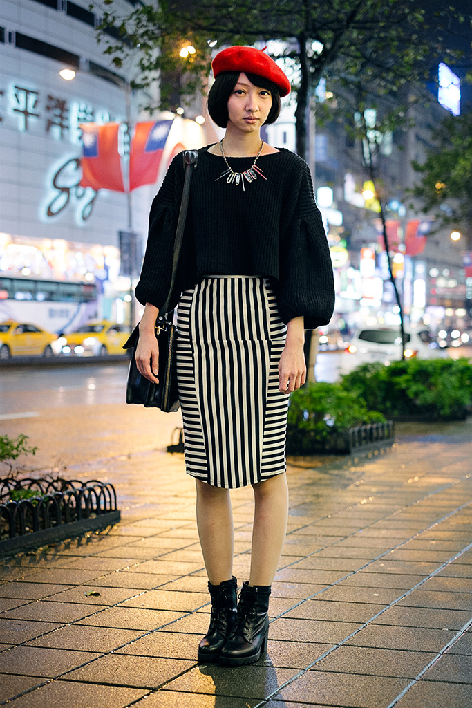 Daan District, TAIPEI. Olivia Lee, Marketing. Top Shop necklace and shoes, Urban Outfitters skirt, Vintage bag from Germany, H&M Blouse, blouse from night market.