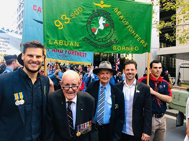 I had the great honour of marching with my Grandfather's airforce squadron today. He was the Squadron Leader in the Royal Australian Airforce, 93 Squadron. He was killed while taking off in an accident flying his Beaufighter A8-184 on the 19th of December, 1945 at Labuan, North West Borneo. Through the amazing work of the Australian War Museum I can now view the photos from that day and also see other amazing photos of my Grandfather. It was amazing to hear stories and now to see images of the brave men that served for us in the first and Second World War. Thank you Keith Gulliver and our veterans for being amazing men of honour and for giving your lives so that we can have the freedom that we have today.  You will never be forgotten.  #ANZAC #letsweforget