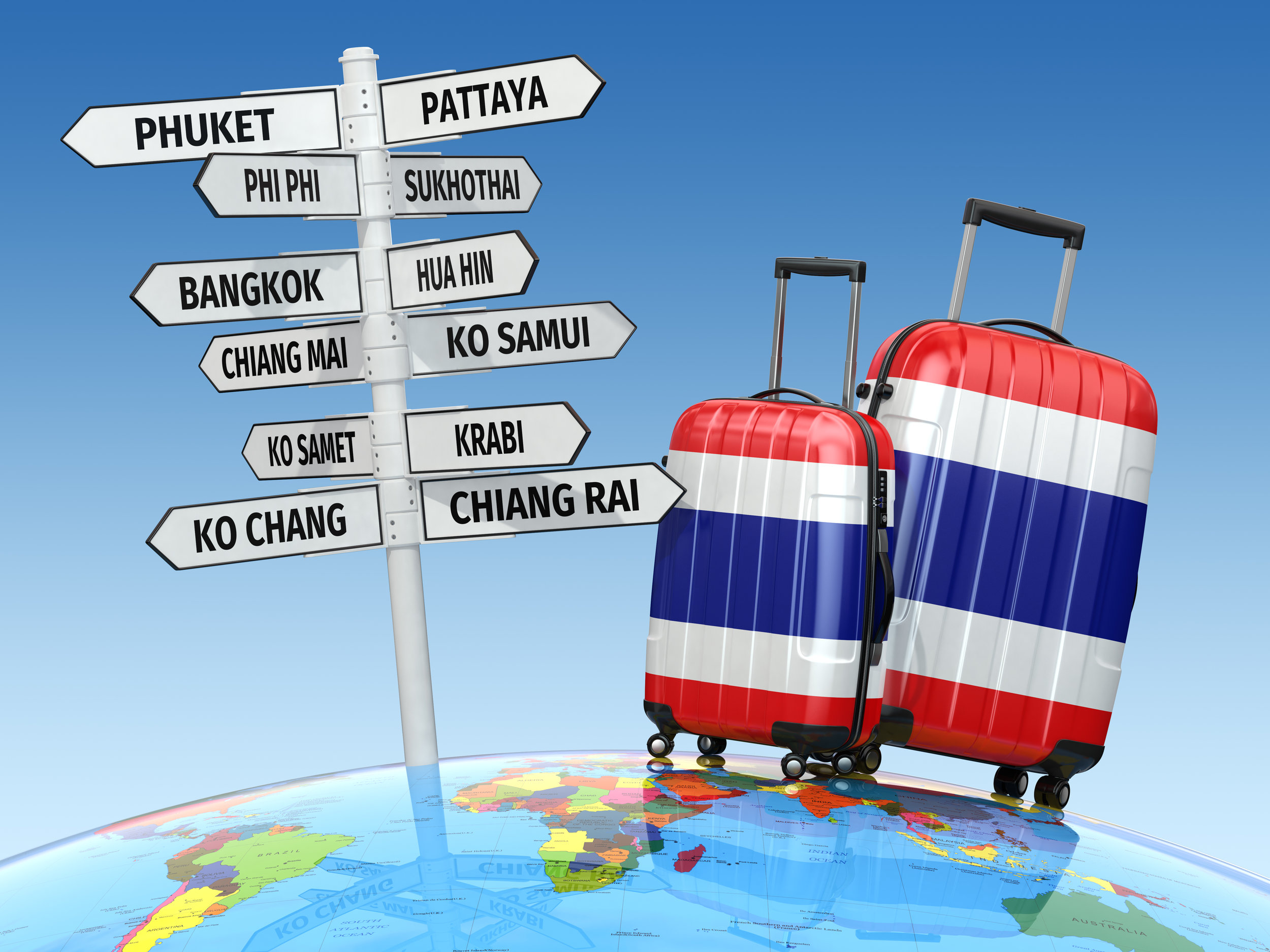 Travel concept. Suitcases and signpost what to visit in Thailand