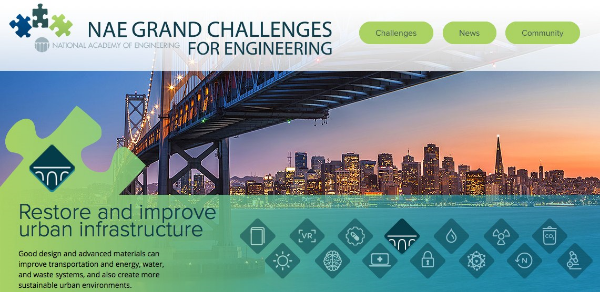 """The National Academy of Engineering has identified 14 """"Grand Challenges"""" for the 21st century, big jobs to benefit the world that will require extensive engineering contributions."""