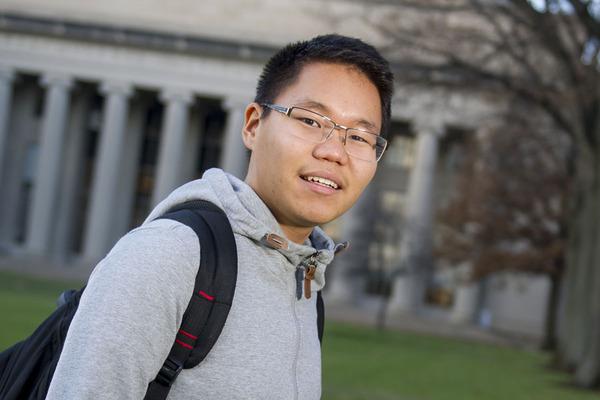 Battushig Myanganbayar on campus at MIT.