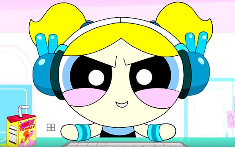 Powerpuff Girl Bubbles in full-on coding mode, ready to take Silicon Valley by storm.