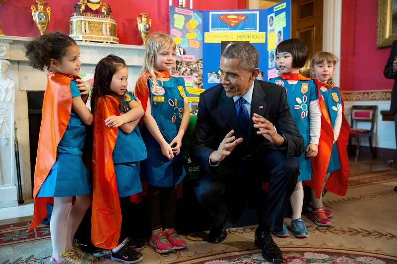 President Obama talks with six-year-old Daisies from Tulsa, Oklahoma, at the 2015 White House Science Fair. The girls won a prize for their project using LEGO pieces and a battery-powered page turner to help people who are paralyzed or have arthritis.