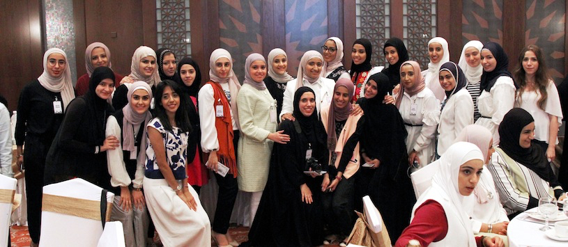 Kuwaiti engineering students gather for the country's first Women in Engineering Day, held in June at the American University of the Middle East in Eqaila, Kuwait.