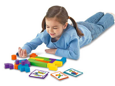 Block Buddies help kids move back and forth between thinking in two dimensions and thinking in three.