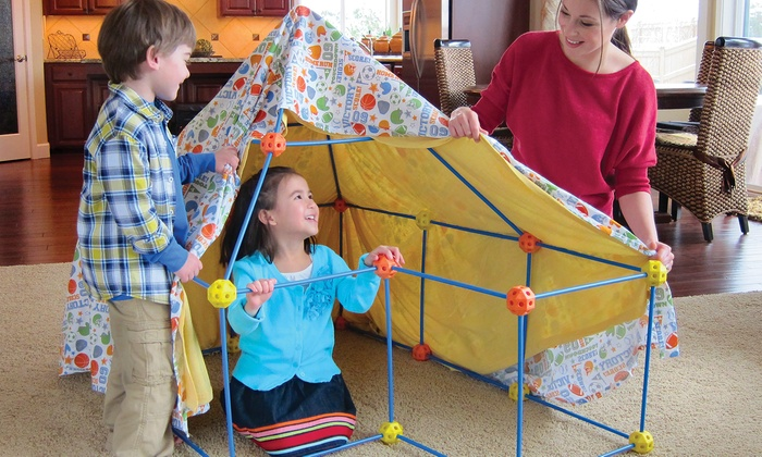 A construction fort can take any shape or character that kids can imagine.
