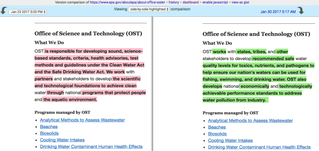 Before and after versions of the EPA Water Office's mission statement regarding science and technology.