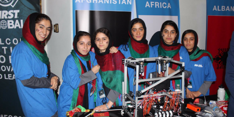 """After visa challenges almost kept them out of the country, the Afghan girls robotics team made it to the FIRST Global competition and won a silver medal for """"courageous achievement."""""""