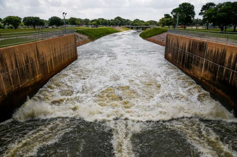 The Addicks and Barker (shown here) dams in Houston came within inches of overflowing during Hurricane Harvey, as the storm tested the city's engineering infrastructure as never before.