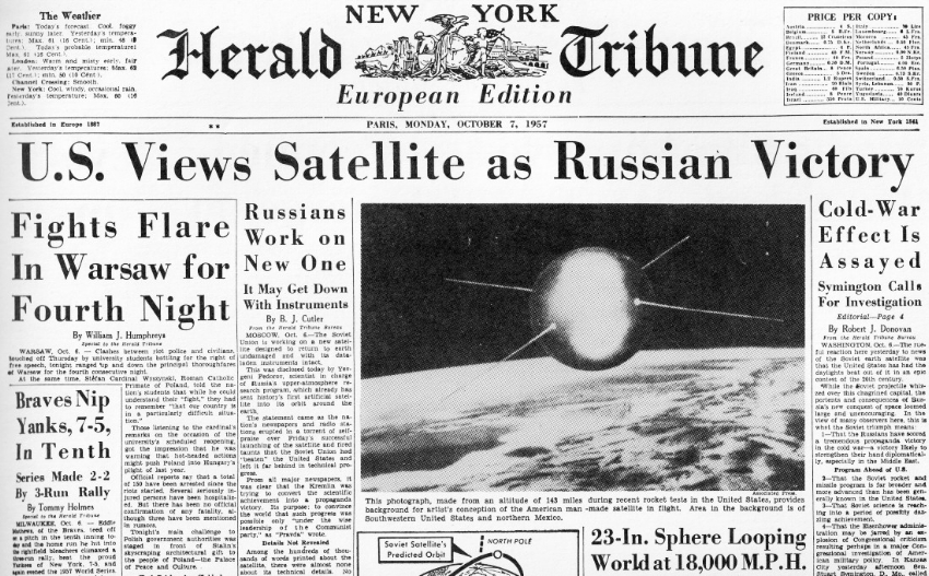 The 1957 launch of Sputnik sparked fears of an imminent Soviet takeover of space.