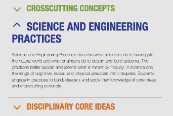 The NGSS approach emphasizes practice or performance as a way to acquire and demonstrate learning.