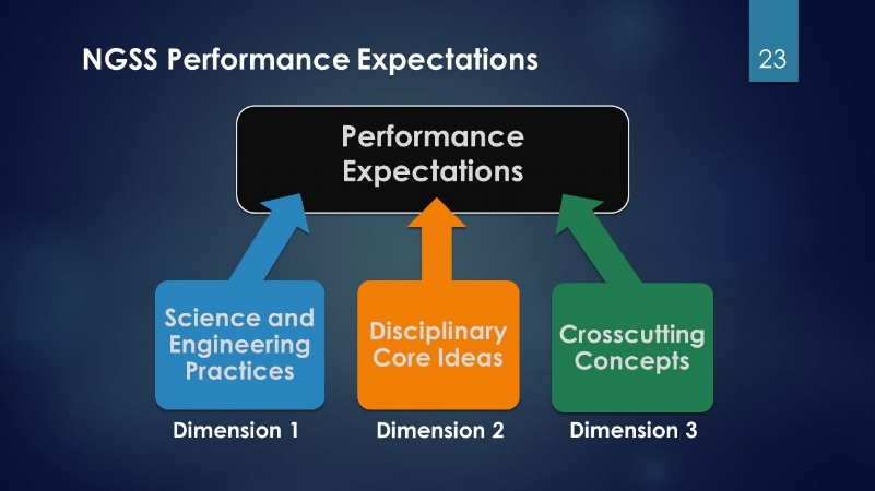 Performance expectations ask students to show age-appropriate command of a scientific or engineering practice, subject area knowledge, and grasp of a principle with wide applicability across disciplines.
