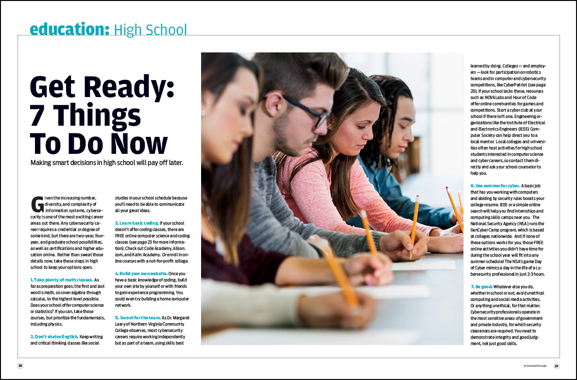 Students in middle and high school can get started preparing for further cybersecurity study and work in various ways.