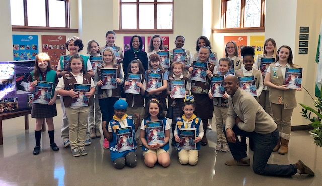 Thanks to the efforts of FAME, Inc., and Executive Director Don Baker (front right), Girl Scouts in Delaware got an introduction to cybersecurity through the Career Guide.