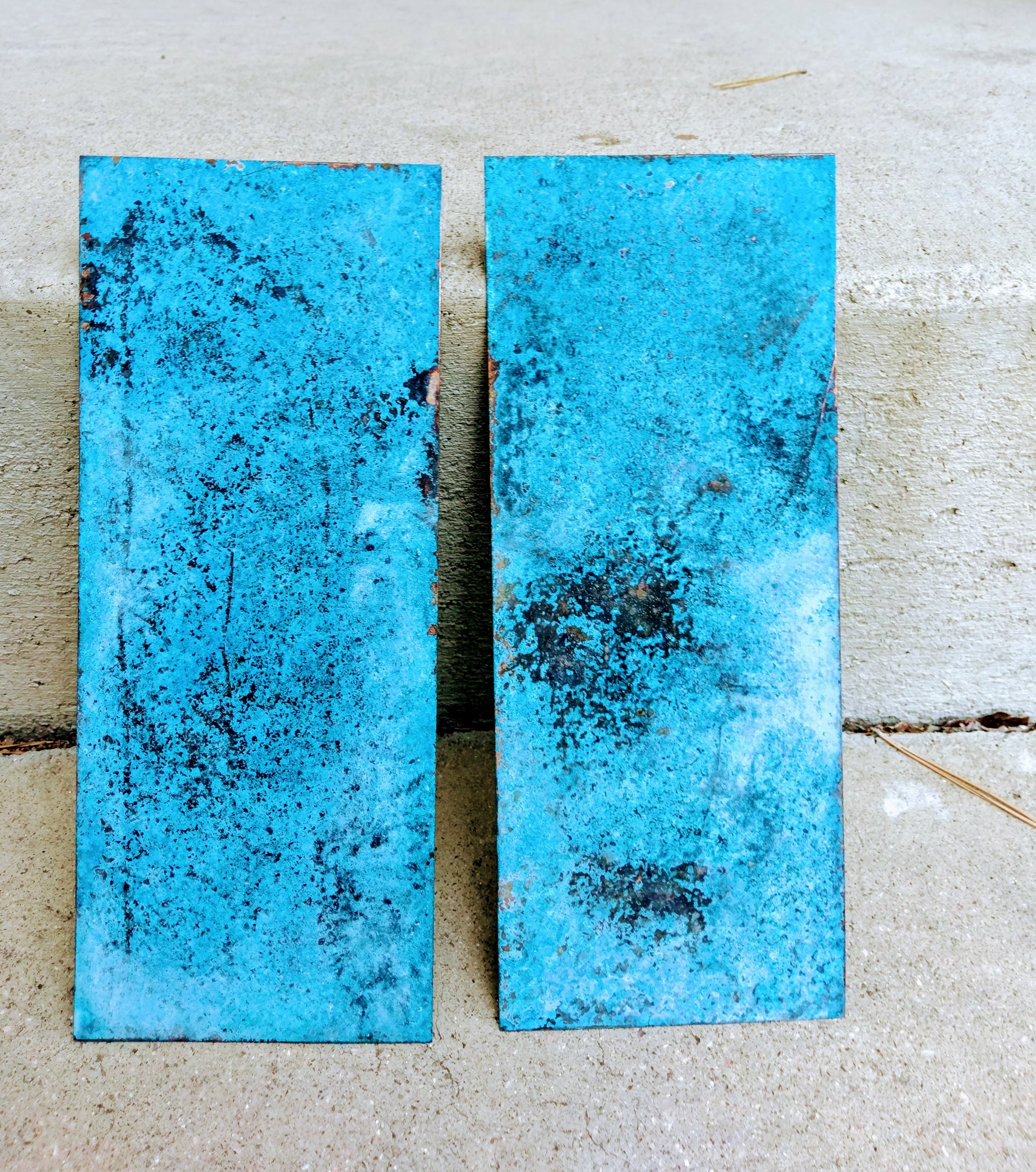 Finished copper patinas. These pieces can be further sanded to expose more of the copper beneath, or left as is, beautifully blue!