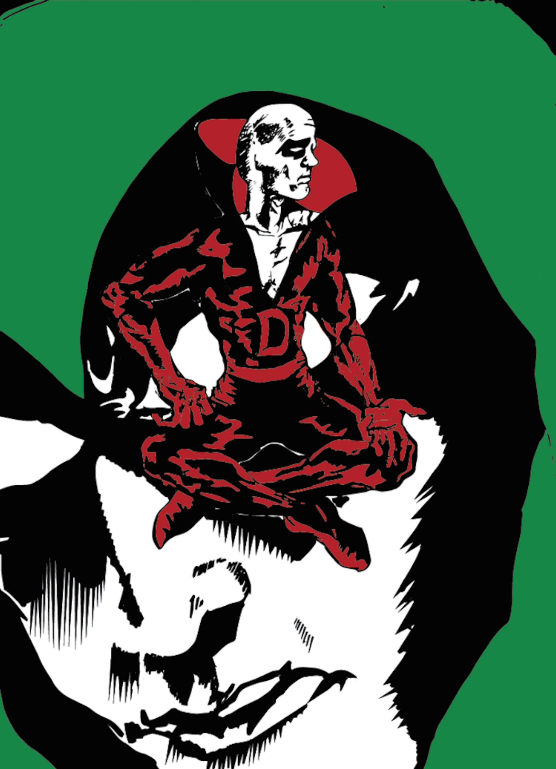 DC comics' Deadman and The Spectre having an intimate chat in (not-so) living color. ('Cause they're both dead. Get it?)