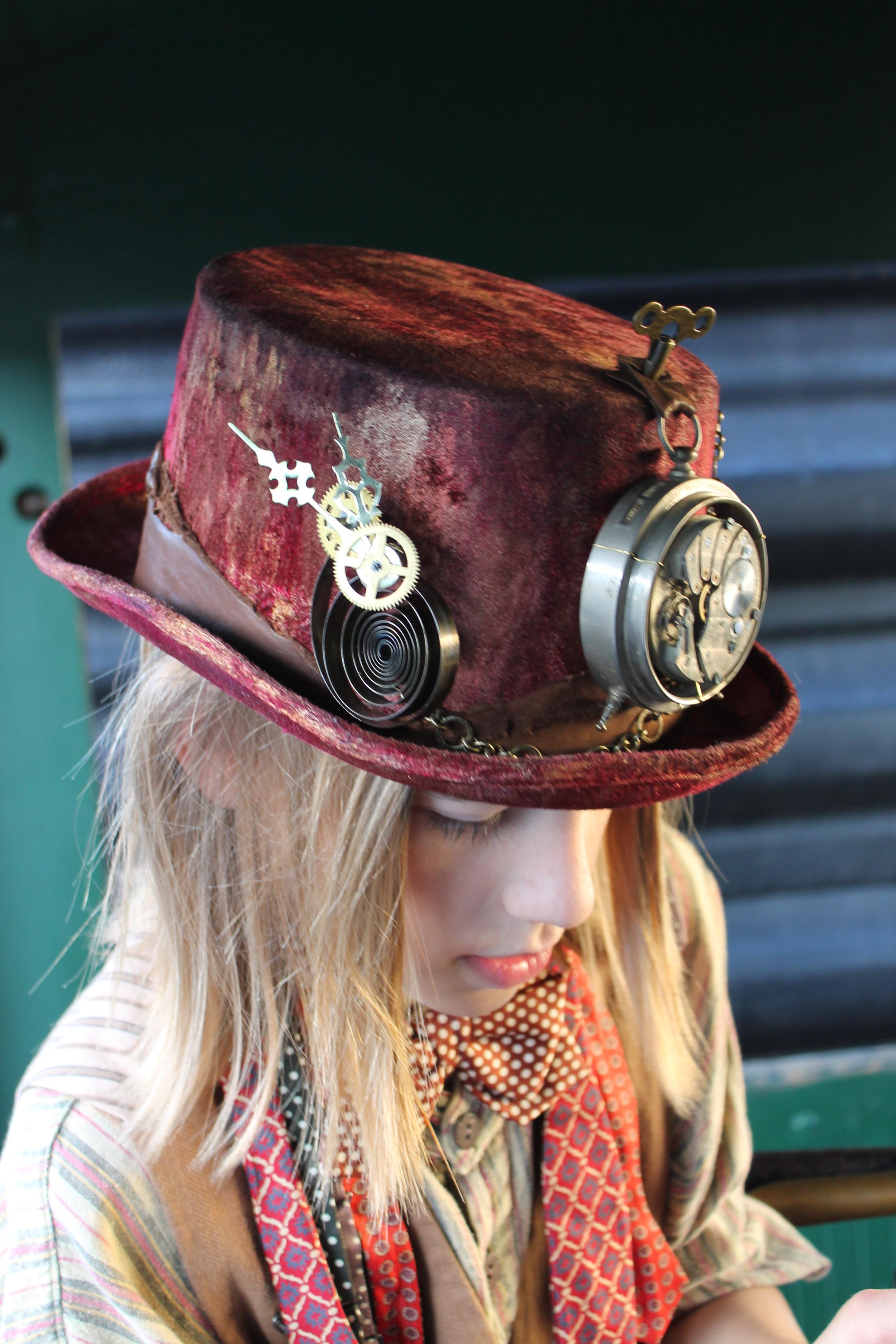 Hand-painted Velvet Clockwork Top Hat