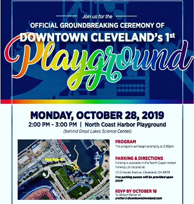 Exciting news for kids #intheCLE today! 1st ever playground planned for downtown Cleveland. Yay! #kidsplayground #CLE #downtowncleveland