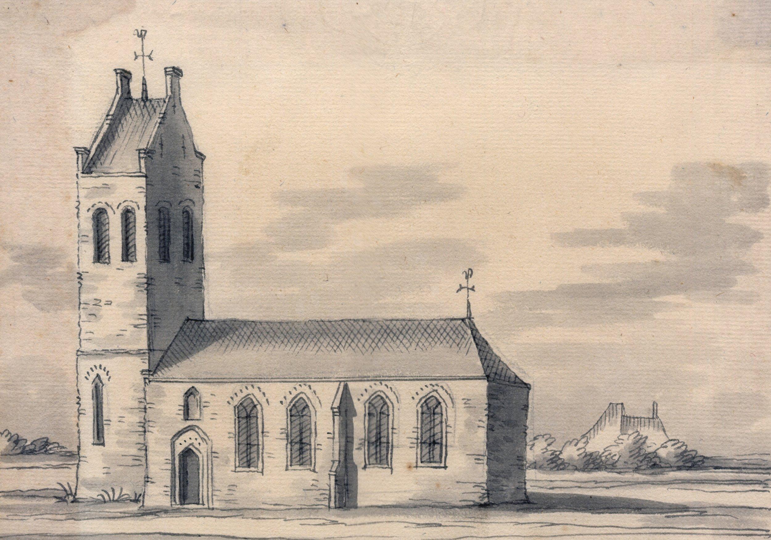 De kerk van Schettens, Friesland in 1722