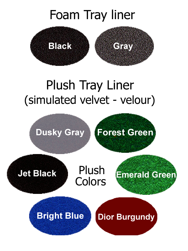 Standard and optional tray liner colors