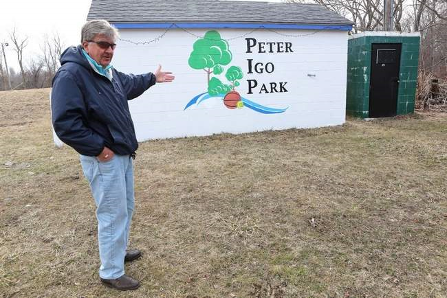 Peter Igo Park intitiative Chairman Bud Duksta excited by the the new art work created by local artist Todd Alvey and the prospects of the park moving forward in development stages this spring.