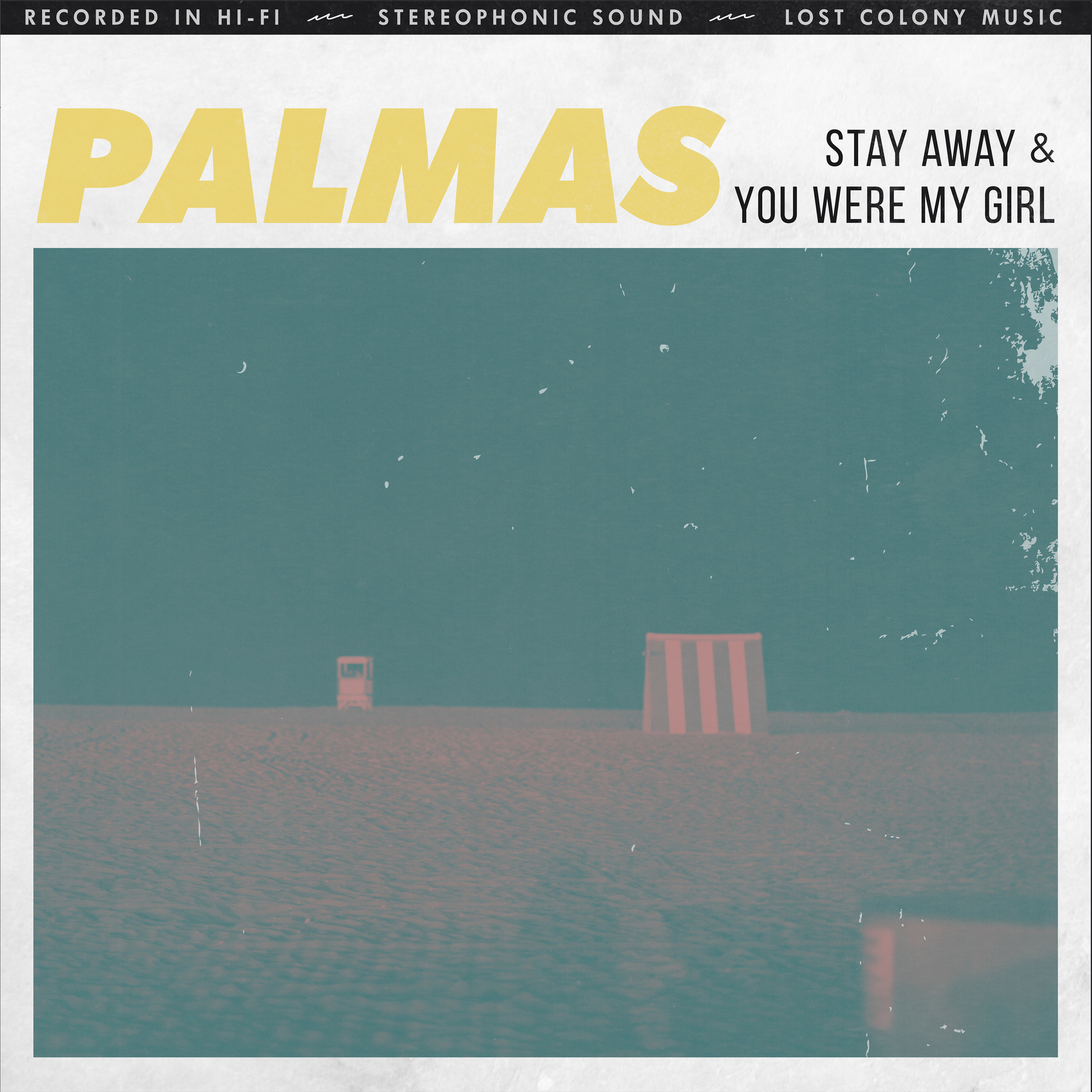 "PALMAS   On first listen, Philadelphia based indie rockers PALMAS take you back through time, straight to the stage of a 1950s tiki dive bar. It's a place where locals and outsiders find themselves dancing close under glittering lights, surrounded by a fog of slow-swirling cigarette smoke. Here, women in thick cat eyeliner melt into mysteriously dark silhouettes.  When beats stop and eyes open, the band (Eric Camarota - Bass, Matthew Young - Guitar, Adam Cantiello - Guitar, Kurt Cain - Vocals/Organs, and Pat Degan - Drums) are no longer performing for a sea of one-night lovers somewhere in the past. Instead, they're here, on a beach with good friends and guitars, drinking cheap Mexican beer around a bonfire.  Palmas' music has already captivated fans and critics alike. They've been playing sold-out shows for over a year and have been featured in publications such as NYLON, Noisey, and Daily Music Insider, all before officially releasing any music.  Rehearsing in an off-season haunted house allows their surf-tinged tracks to come injected with an aura of fake blood, skulls, and zombies. PALMAS ride an eerily addicting line between sunny days and unnervingly dark nights. On tracks like ""Stay Away,"" the band evokes proof of their 1950s influence with reverberated guitar leads reminiscent of Nancy Sinatra or the opening of an original James Bond film. Their single ""Ride the Wave,"" however, brings you back to a sun-soaked beach party of the present where you can hear distant echoes of Temples, Best Coast, and The Growlers.  Perhaps the key to PALMAS' balance of colorful surf-y leads and heart-wrenching nostalgia lies at the foot of their merch table. You'll find it littered with old postcards bordered by twinkling lights. If you stare at one of those slowly fading, bent and twisted, ""Hello from Florida"" novelties long enough, you might get to follow PALMAS on their trip from a seemingly normal beach day to a smoke drenched dance floor that's lost in time.  In addition to premiering their music video for ""Stay Away"" via Noisey/Vice, PALMAS has recently announced their freshly signed deal with NYC label Lost Colony Music to release an A/B side ""Stay Away""/""You Were My Girl"" with an EP to follow in November."