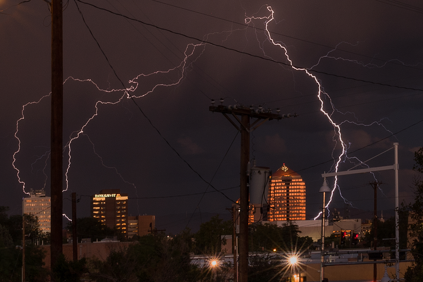 Lightning show over downtown Albuquerque.