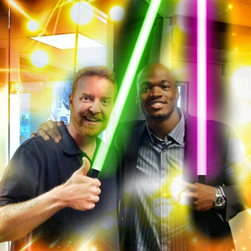 """Dave and NFL MVP Adrian Peterson show their lightsabers before going into a Pre-K classroom and beheading some """"younglings""""."""
