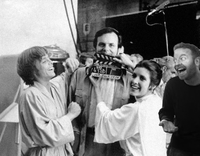 Left to Right: Mark Hammill, Carrie Fisher, some Shmizbo, Dave McDonald- all drunk