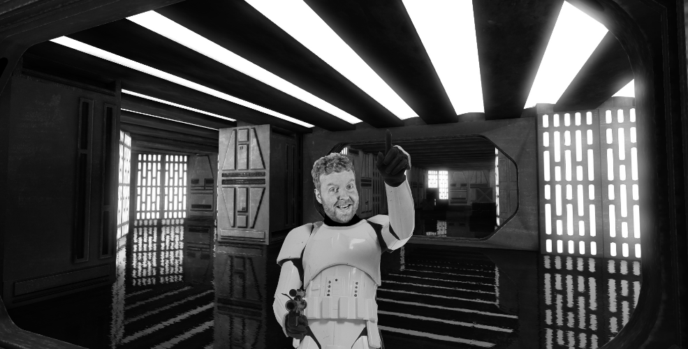 Davey Mac - His impending death is due to him forgetting his Stormtrooper helmet.