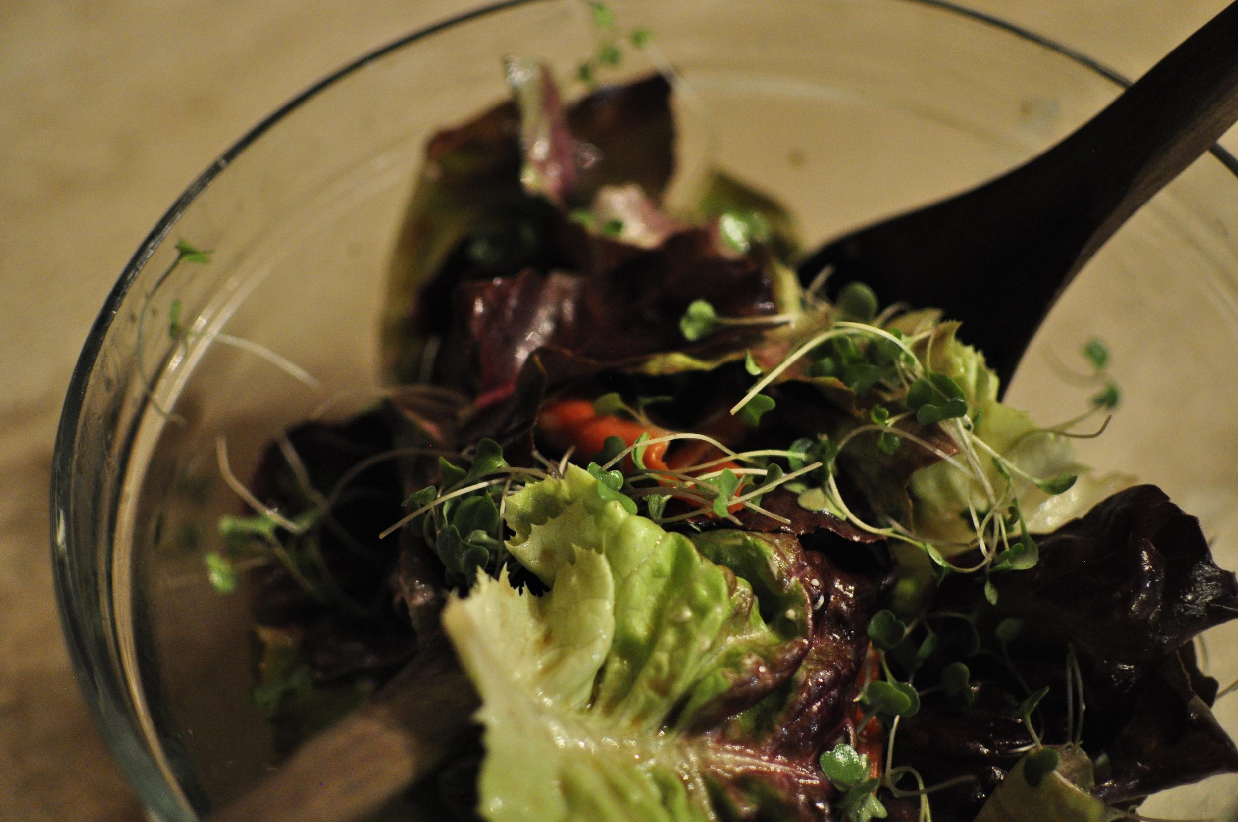 Microgreens mixed in a salad