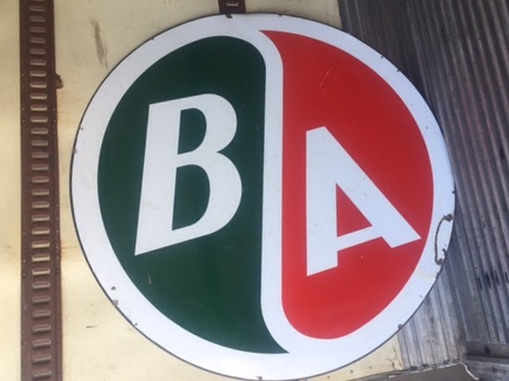 - B/A Gas you ask? Actually the British American Gas Oil Company began in 1906 in Ontario, Canada. It was later bought out by Gulf Oil of Canada and finally by the Conoco Phillips Co. We got this very nice 5 1/2' sign from a collector friend in Iowa and plan on putting it up on a Banjo Pole at the new Lakeside Event Center. The hunting was the fun part! Of course the surprise was found when we tried putting it in a 6' ring on a pole and since its Canadian, it has to be an odd size! Obviously we either have to find the unfindable odd size ring or make one ourselves. We shall see which comes first?