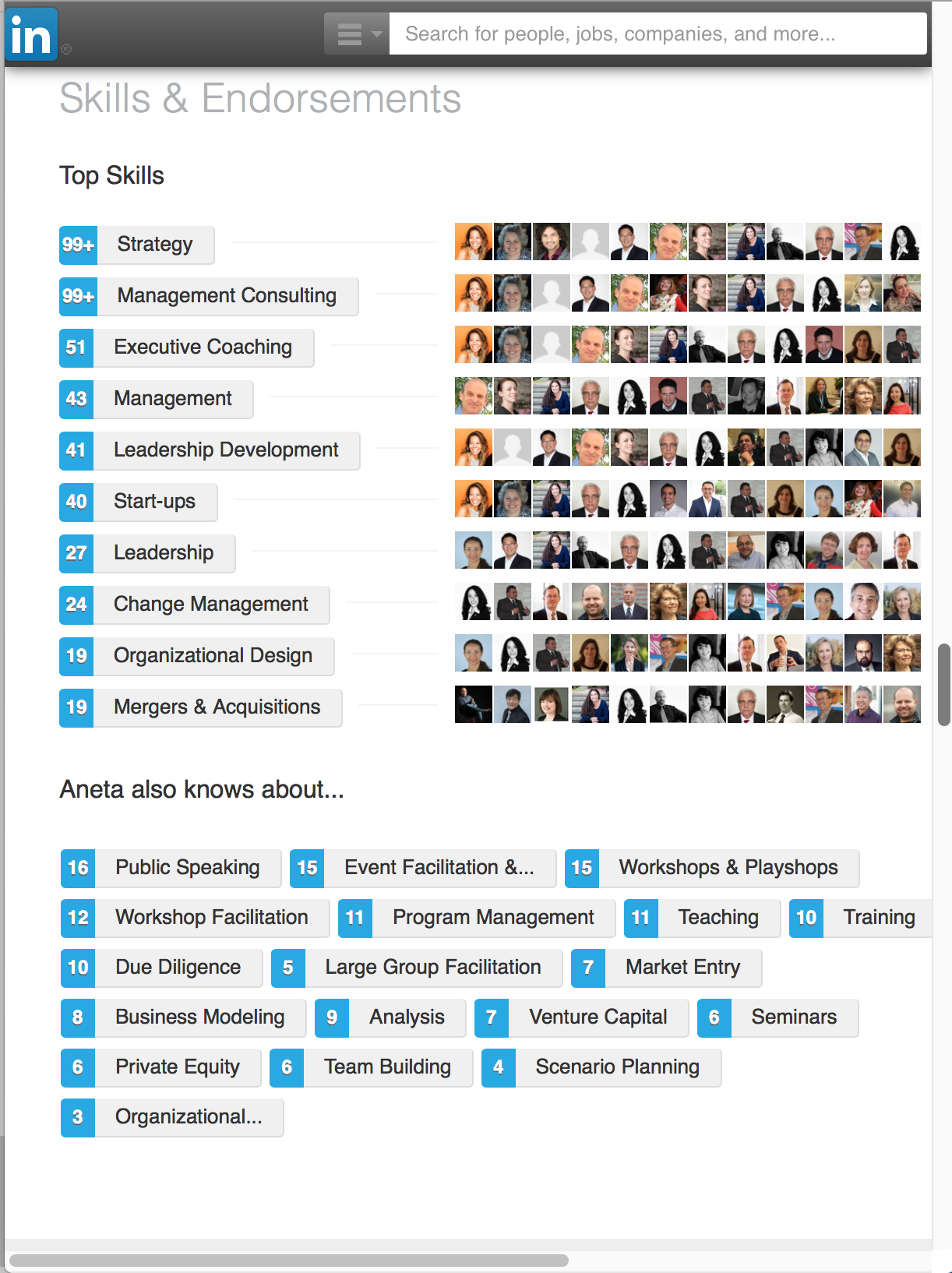 Aneta Key is most endorsed on LinkedIn for Strategy, Management Consulting, Executive Coaching, Leadership Development, Startups, Change Management, M&A, and Organizational Design.