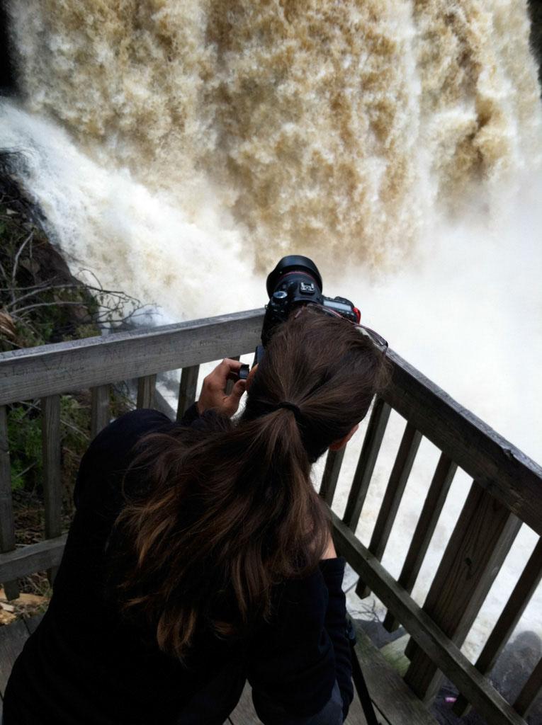 Vicky shoots the falls