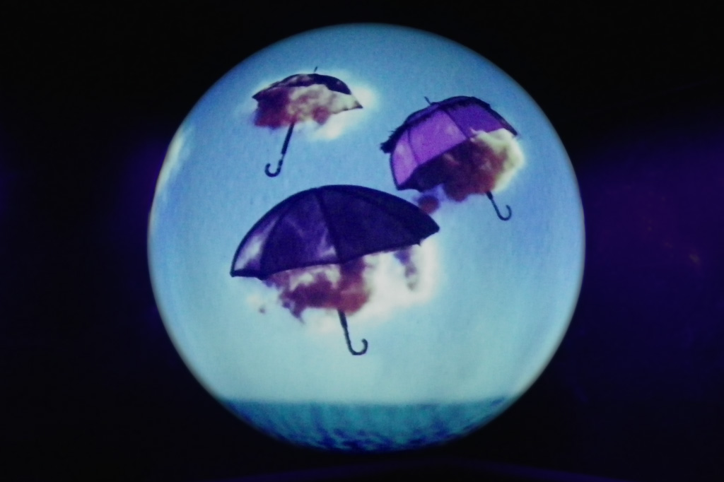 Umbrellas explaining the water cycle