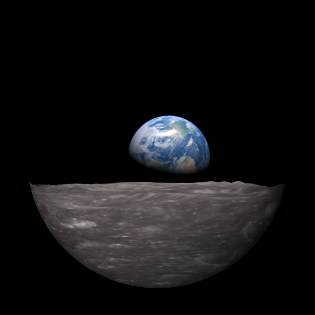 "1968 Apollo 8 ""Earthrise"" simulation by NASA Scientific Visualization Studio."