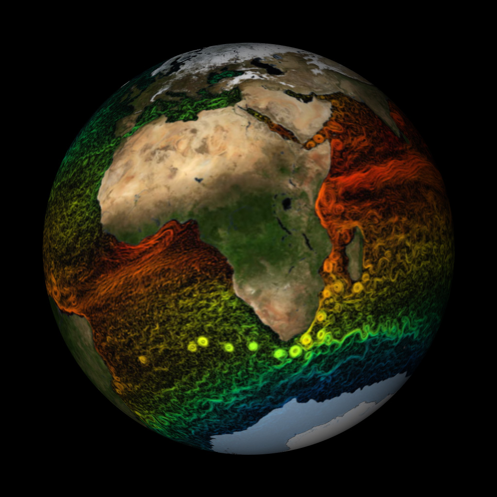 Global Sea Surface Currents and Temperature, ECCO2 Model visualization - NASA SVS