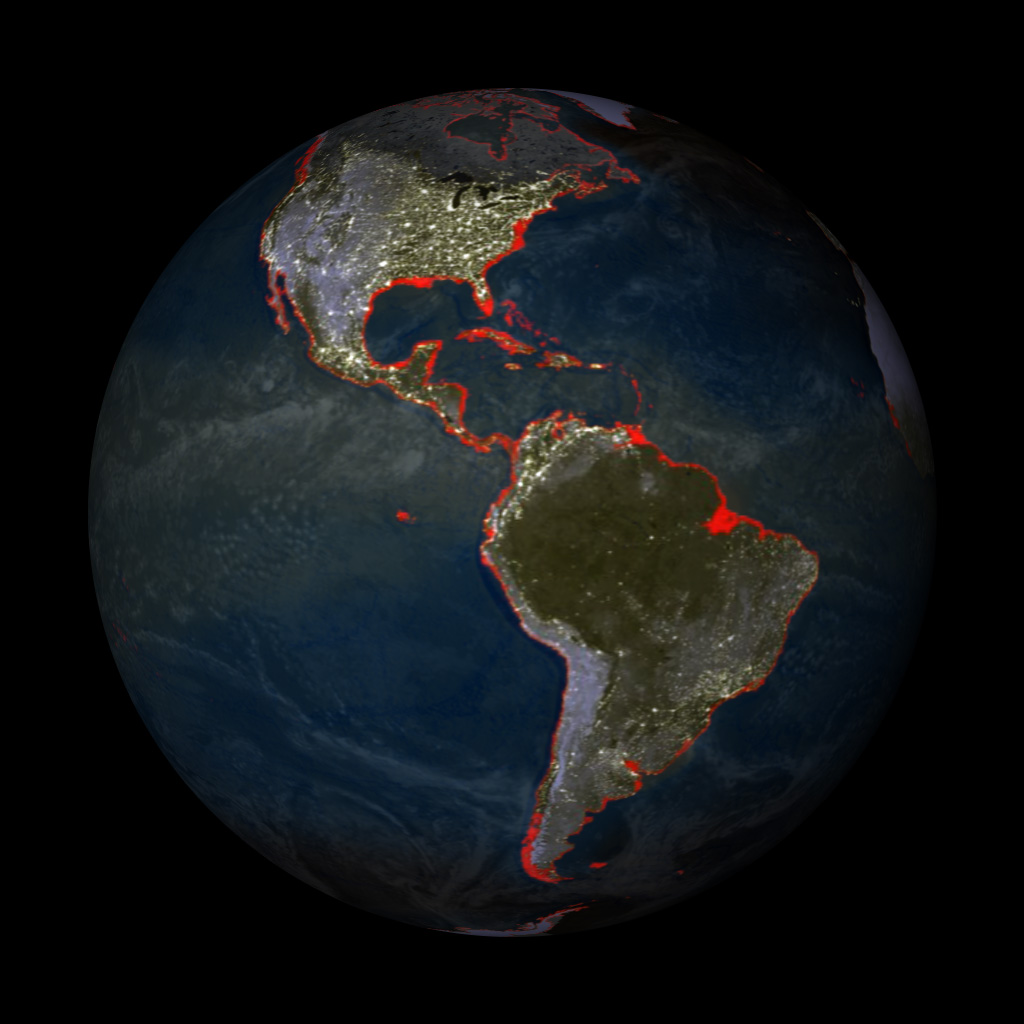 Impact of 6 meter Sea Level Rise and Earth's lights at night - Data sources for film composite : NASA/NOAA