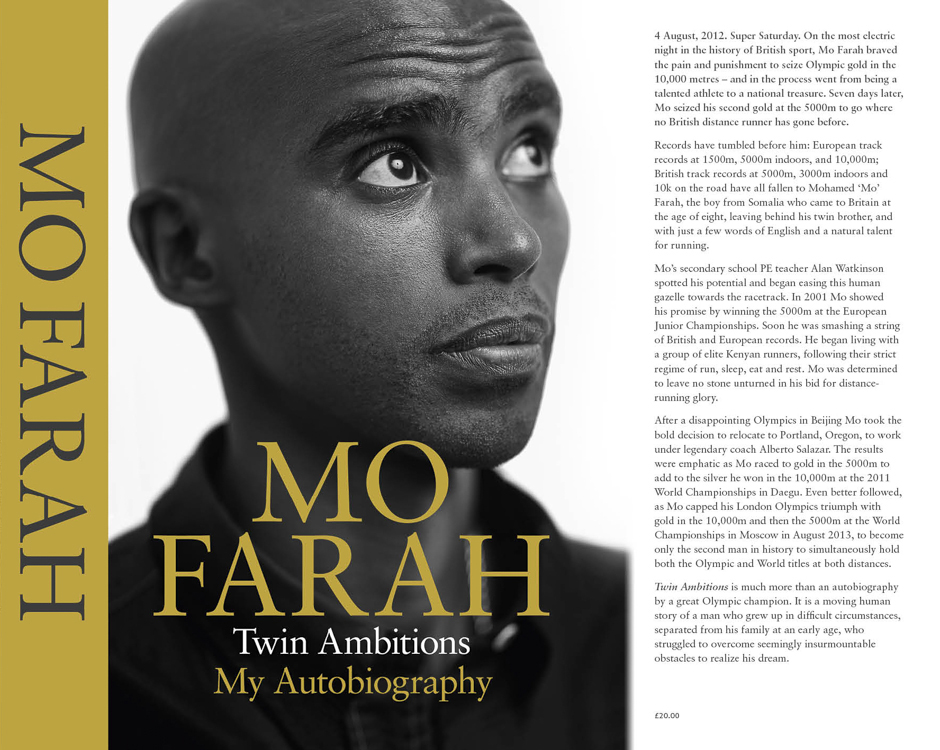 I shot the cover to Mo Farah's new autobiography: Twin Ambitions.