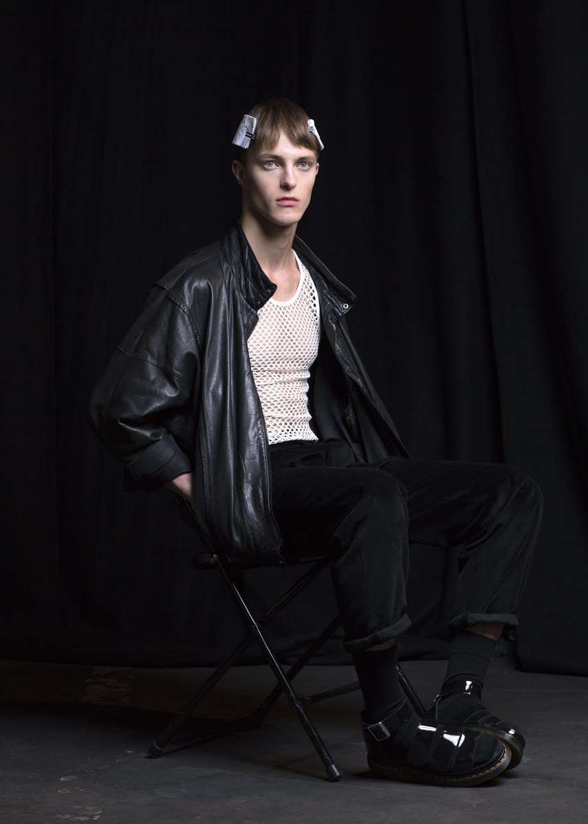 Model at E. Tautz, London Collections: Men for TONI&GUY. Photographed at The Old Sorting Office, London.