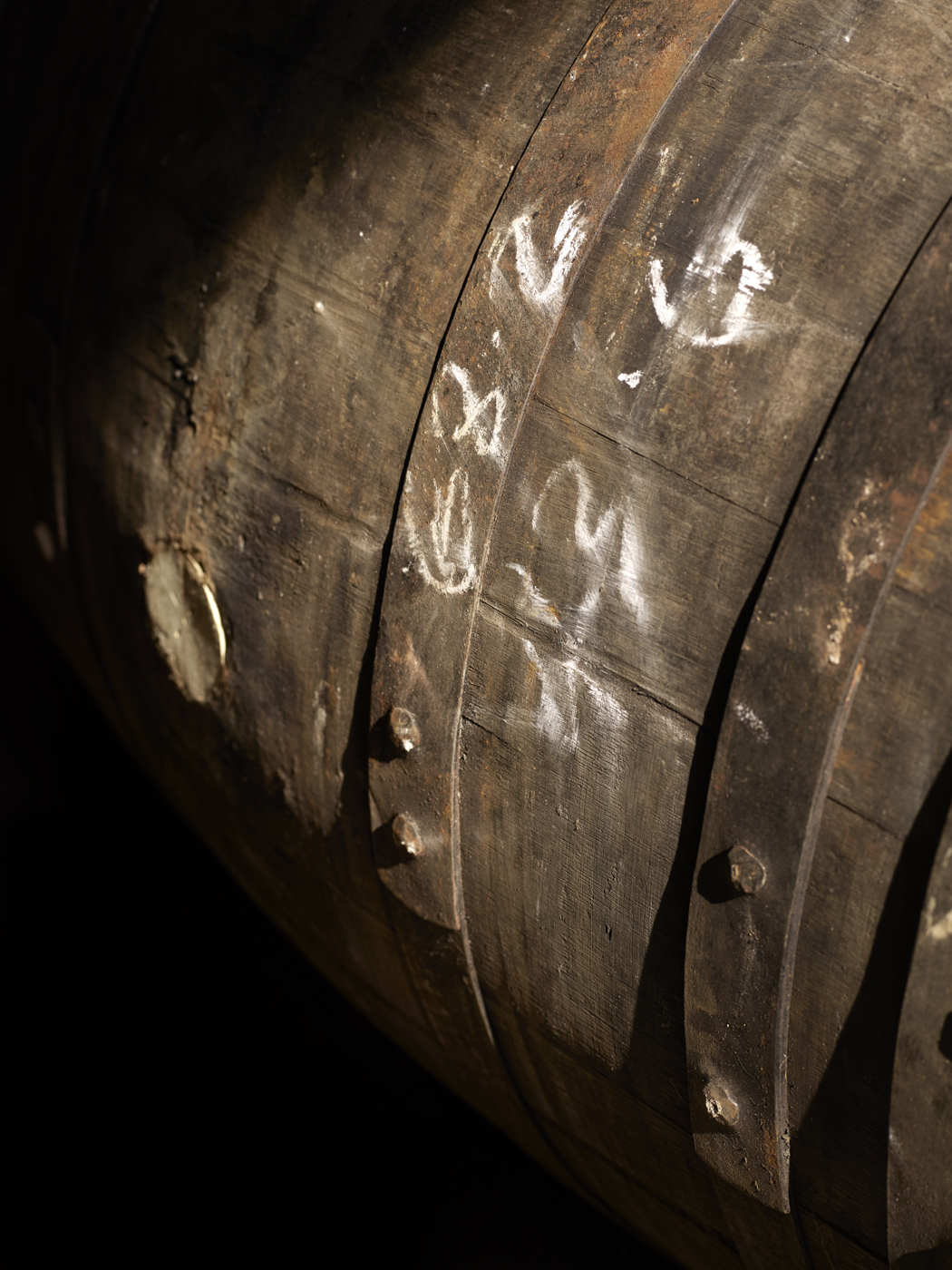 A detail of a cask containing 40yr old Whisky.