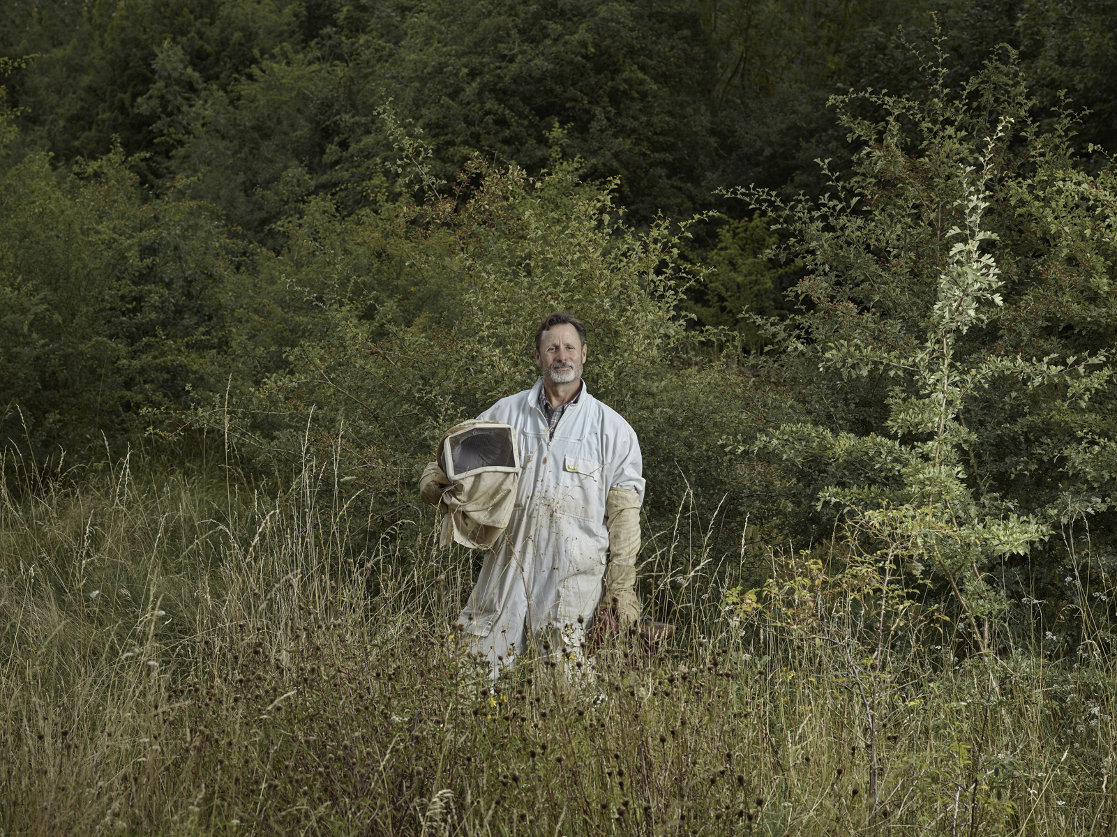 A portrait of beekeeper James Hamill, shot for part of my 'Crafted' series. Photographed on his Surrey farm.